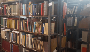 Many books in a bookshelf